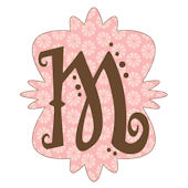 Mod Monogram M Wall Sticker in 6 Colors