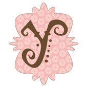 Mod Monogram Y Pink and Chocolate Wall Sticker