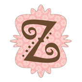 Mod Monogram Z Pink and Chocolate Wall Sticker