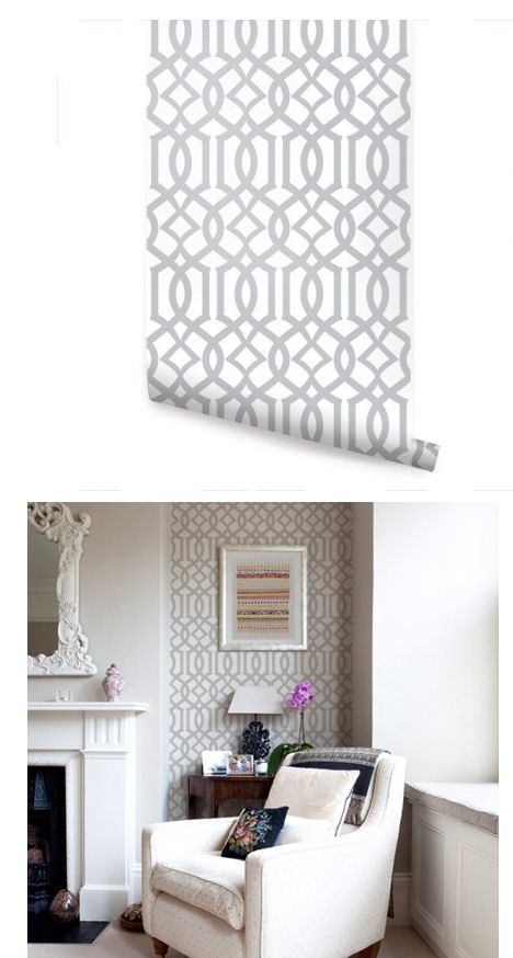 Modern Trellis Gray Peel And Stick Wallpaper