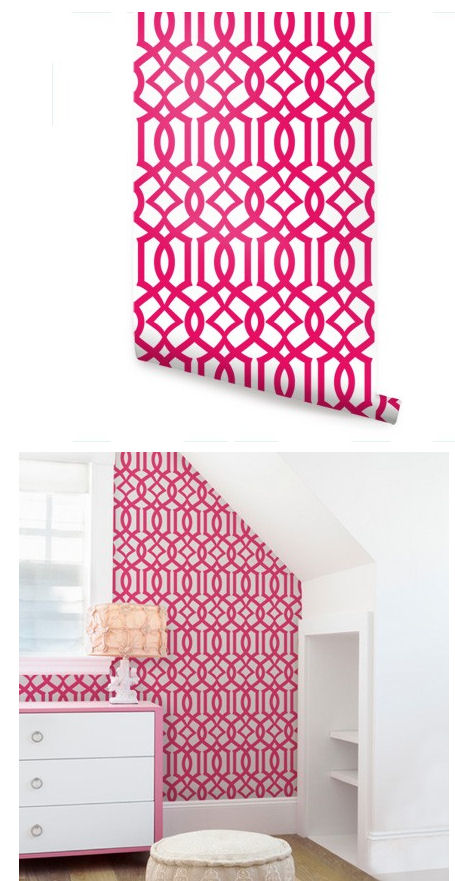 Modern Trellis Hot Pink Peel And Stick Wallpaper