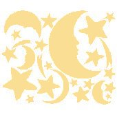 Cream Moon and Stars Peel and Stick Wall Stickers