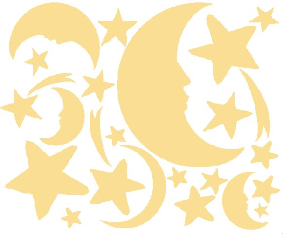 Cream Moon and Stars Peel and Stick Wall Stickers - Wall Sticker Outlet