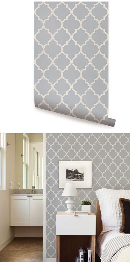 Moroccan light gray peel and stick wallpaper - Best peel and stick wallpaper ...