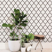 Moroccan White Brown Peel and Stick Wallpaper