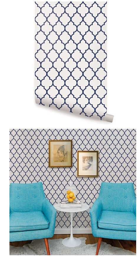 Small Blue Living Room Designs: Moroccan Small Pattern Peel And Stick Wallpaper