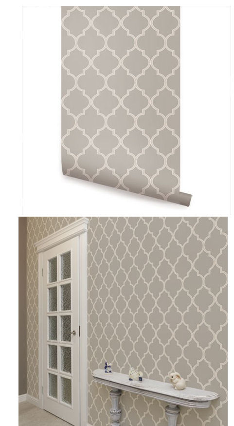 Moroccan warm gray peel and stick wallpaper for Peel n stick wallpaper