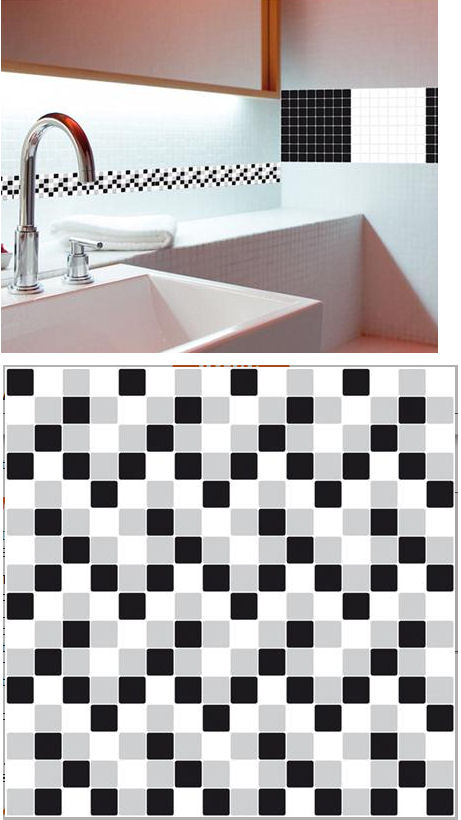 Mosaic Black and White Adhesive Wall Tiles - Wall Sticker Outlet