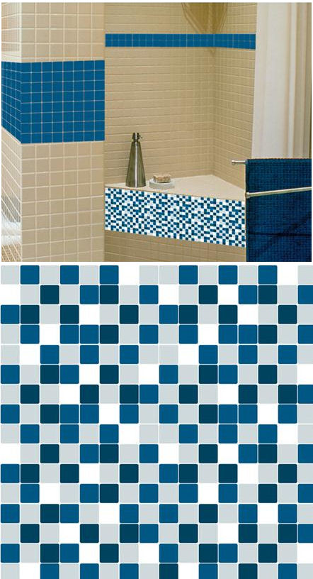 Mosaic Blue Marine Adhesive Wall Tiles - Wall Sticker Outlet
