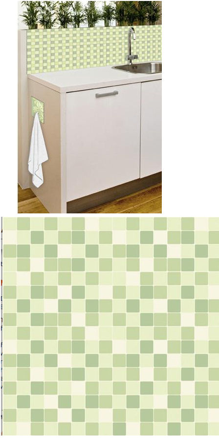 Mosaic Green Adhesive Wall Tiles - Wall Sticker Outlet