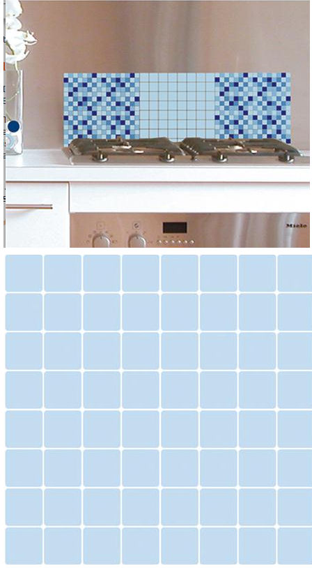 Mosaic Light Blue Adhesive Wall Tiles