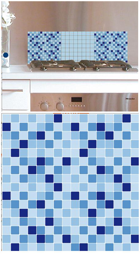 Mosaic Blue Adhesive Wall Tiles - Wall Sticker Outlet