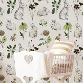 Urbanwalls Mr Rabbit Garden Green Wallpaper