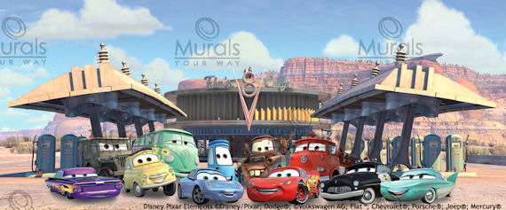 Disney cars flos cafe mural for Disney cars mural uk