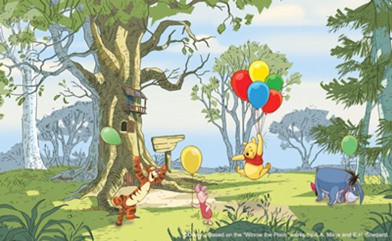 Disney Winnie the Pooh Up Up and Away  Mural - Wall Sticker Outlet