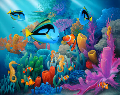 Friends of the Sea Peel and Stick Mural - Wall Sticker Outlet