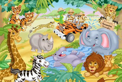 Safari Adventures 2 Peel and Stick Mural - Wall Sticker Outlet