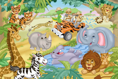 Safari Adventures Peel and Stick Mural - Wall Sticker Outlet