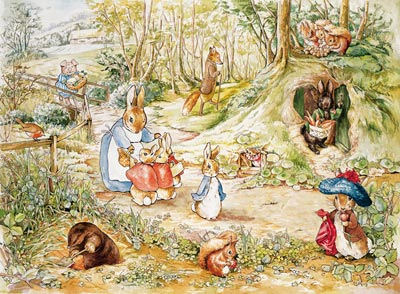 Beatrix potter walk in woods peel and stick mural for Beatrix potter wall mural