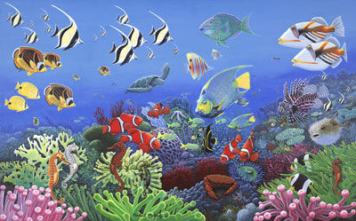 Wonders of the Sea Peel and Stick Mural - Wall Sticker Outlet
