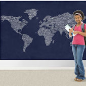Navy One World Easy Up  Mural