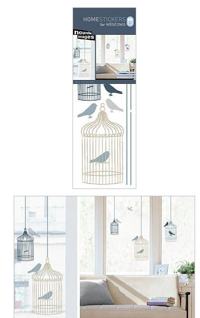 Nouvelles Bird Cages Window Cling Decals SALE - Wall Sticker Outlet