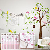 Birdie Tree with Custom Name on String Wall Decals