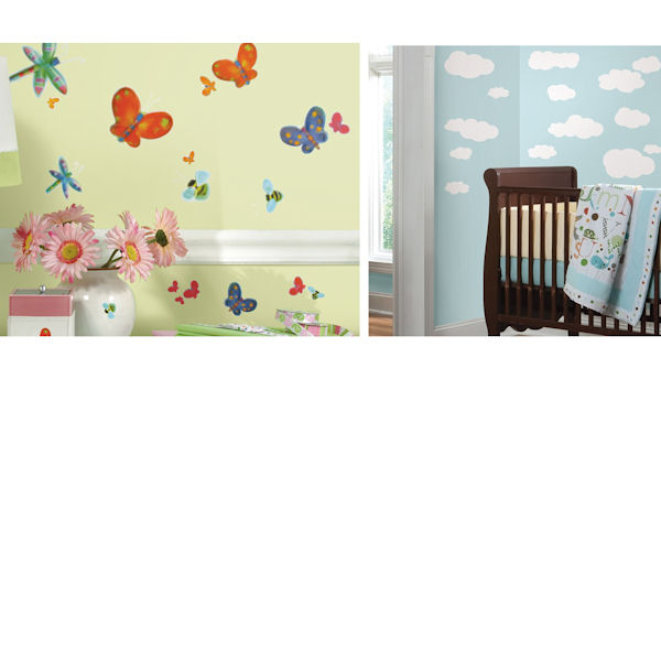 Jelly Bugs and White Clouds Room Package - Wall Sticker Outlet