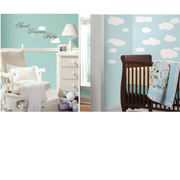 Sweet Dreams Baby and White Clouds Room Package - Wall Sticker Outlet