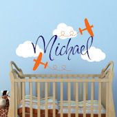 Custom Airplane in Clouds Name Wall Decal