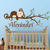 Custom Boy Monkey Name Wall Decal