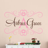 Custom Double Scroll Heart Name Wall Decal