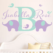 Custom Elephant and Birds Script Name Wall Decal