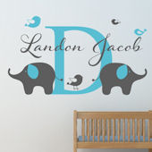 Custom Elephant and Birds Boys Name Wall Decal