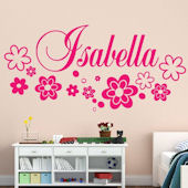 Custom Flower Script Name Wall Decal