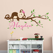 Custom Girl Monkey Name Wall Decal