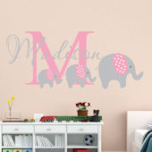 Custom Elephant Trio Girl Name Wall Decal