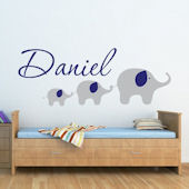 Custom Elephant Boys Name Wall Decal