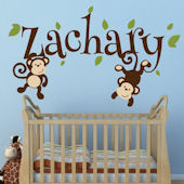 Custom Swinging Monkeys Name Wall Decal