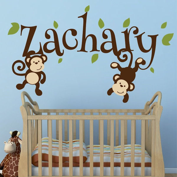 Custom Monkey Boys Name Wall Decal - Wall Sticker Outlet