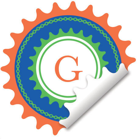 Gear Monogram Orange Wall Decal - Wall Sticker Outlet