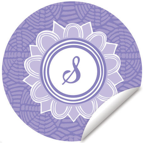 Blossom Monogram Lavender And White Decal - Wall Sticker Outlet