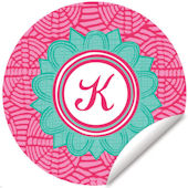 Blossom Monogram Pink And Turquoise Wall Decal