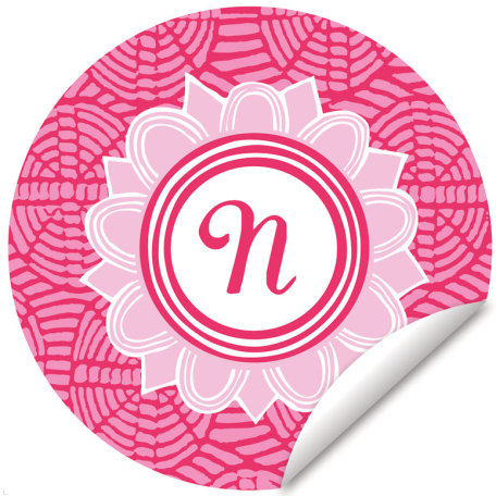 Blossom Monogram Pink And White Wall Decal - Wall Sticker Outlet