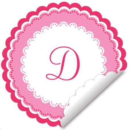 Sweet Monogram Pink And White Wall Decal - Wall Sticker Outlet