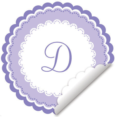 Sweet Monogram Lavender And White Decal - Wall Sticker Outlet
