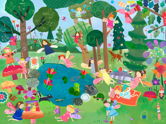 Fairy forest murals that stick for Fairy forest mural