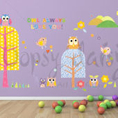 Patterned Park Owl Peel and Place Decals