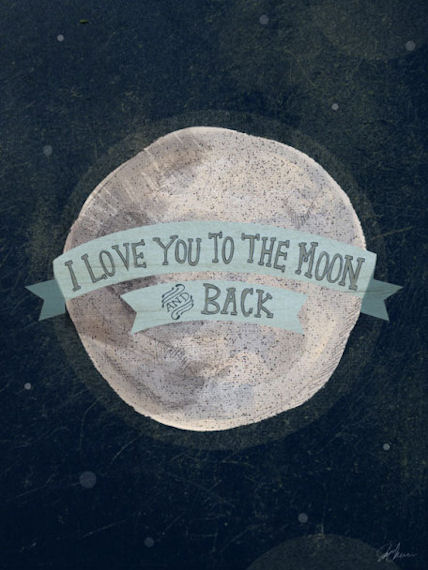 I Love You To The Moon Blue Posters That Stick - Wall Sticker Outlet