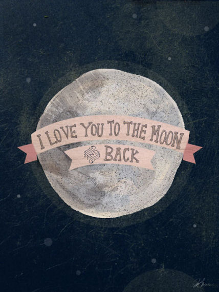 I Love You To The Moon Pink Posters That Stick - Wall Sticker Outlet